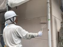 ALC 塗り替え 日本ペイント リフォーム 中塗り2回目 外壁 神奈川 横浜 栄区 塗装