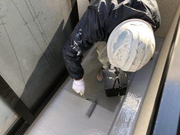FRP ベランダ防水 横浜市 磯子区 上塗り1回目