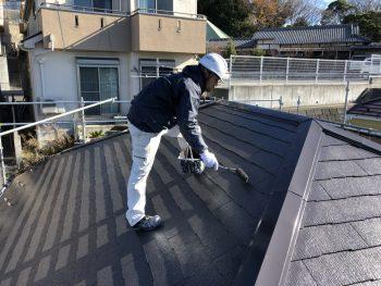 住宅塗装 屋根 遮熱 上塗り2回目