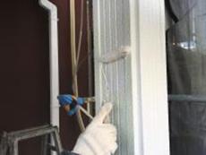 リフォーム 戸建 玄関 塗り替え 柱 シリコン 上塗り1回目