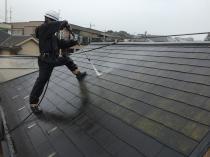 横浜市磯子区N様邸塗替え前高圧洗浄作業