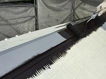 屋根 棟板金 塗り替え リフォーム 横浜市 遮熱 鎌倉市 上塗り1回目 戸建