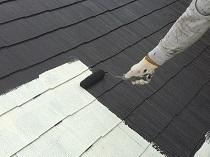 屋根 塗装 リフォーム 上塗り1回目 遮熱 鎌倉市 横浜市