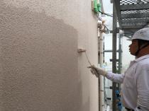 横浜市 戸塚区 塗り替え リフォーム 上塗り2回目 外壁 ダイヤモンドコート