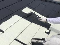 塗り替え リフォーム 屋根 上塗り1回目 横浜市 遮熱塗料 戸塚区