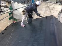 上塗り2回目 屋根塗装 遮熱塗料 戸建住宅 横浜市