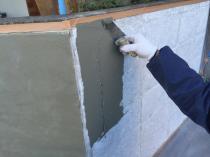 横浜市港南区T様邸塀塗替え前下地補修