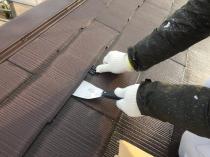 横浜市港南区T様邸屋根塗替え前作業