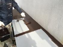 庇 塗装 上塗り1回目 横浜市 住宅塗装 港南区