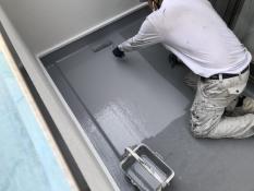 上塗り1回目 防水 保護 塗装 横浜市 戸塚区 バルコニー