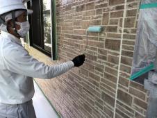 横浜市 住宅塗装 上塗り1回目 UVプロテクトクリヤー