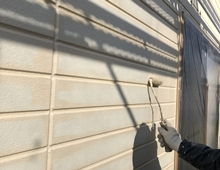 塗り替え リフォーム 外壁 ダイヤモンドコート 上塗り1回目 横浜市 栄区