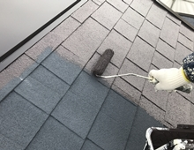 横浜市 屋根塗装 遮熱 日本ペイント 上塗り1回目 栄区