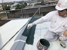 棟板金塗装 遮熱 サーモアイ 上塗り1回目 日本ペイント 口コミ シェア