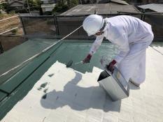 住宅塗装 屋根 上塗り1回目 人気 遮熱 サーモアイ 日本ペイント