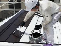 住宅 塗り替え 屋根 上塗り1回目