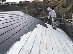 戸建て 屋根 塗り替え 遮熱 上塗り1回目 サーモアイ 横浜市 磯子区