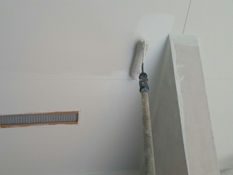 住宅塗装 軒天 塗り替え リフォーム 横浜市 磯子区 上塗り1回目