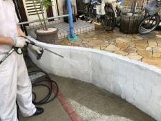 塀塗装 藻 カビ 汚れ 高圧洗浄