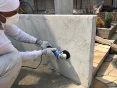 塀塗装 下地処理 戸建 リフォーム