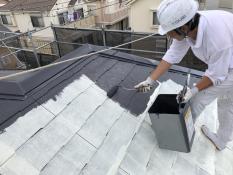 住宅塗装 上塗り1回目 屋根