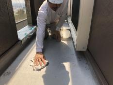 ベランダ防水工事 保護塗装 アセトン