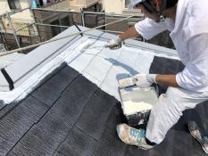横浜市 戸建 屋根塗装 下塗り2回目