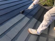 遮熱塗料 屋根 上塗り2回目