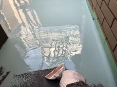 ウレタン防水1層目 ベランダ