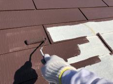 遮熱塗料 屋根塗装 上塗り1回目