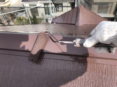 上塗り2回目 遮熱塗料 棟板金塗装