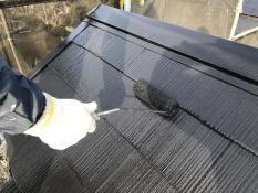上塗り2回目 屋根遮熱塗料