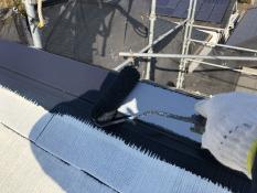 上塗り1回目 屋根棟板金