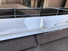 屋根棟板金塗装 錆止め下塗り