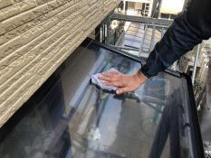 テラスアクリル板清掃