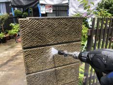 塀塗り替え 高圧洗浄