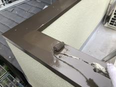 シリコン塗装 上塗り2回目 手摺笠木