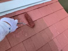 横須賀市O様邸屋根塗装上塗り1回目