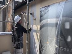 横浜市鶴見区W様邸外壁塗装上塗り1回目