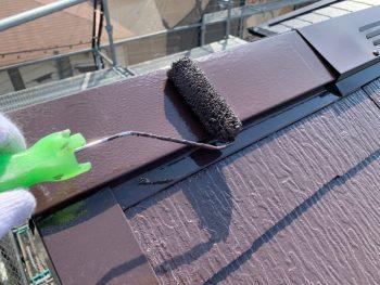 屋根棟板金上塗り2回目