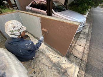 横浜市栄区Y様邸塀インディフレッシュセラ上塗り1回目