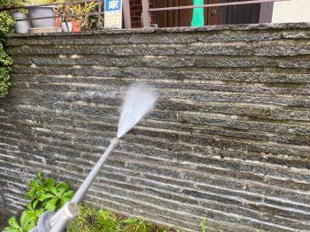 横浜市栄区Y様邸塀高圧洗浄