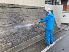 横浜市栄区K様邸擁壁高圧洗浄