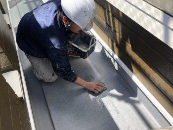 横浜市栄区F様邸FRP防水アセトン拭き