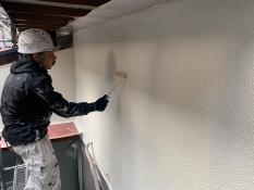 横浜市港南区N様邸外壁塗装上塗り2回目