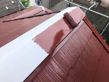 横浜市南区Y様邸棟板金塗装上塗り1回目